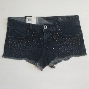 Volcom Studded Cut Off Jean Shorts